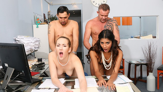 Horny StepDads Swapped Daughters in Office